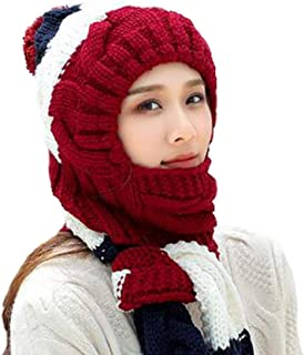 VOCHIC Winter Warm Thick Ski Kint Snow Conjoined hat and scarf set for womens