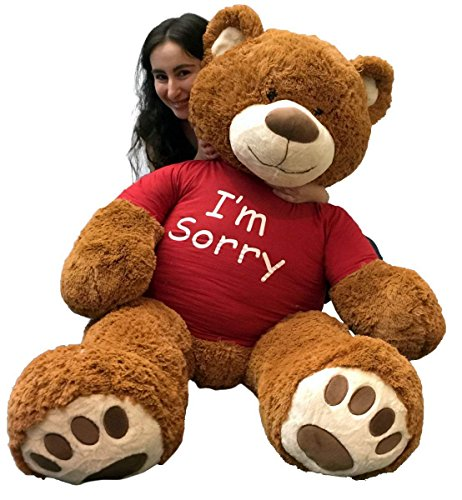 Big Plush 5 Foot Giant Teddy Bear Wearing I'm Sorry T-Shirt 60 Inch Soft Cinnamon Brown Color Huge Teddybear to Make an Apology