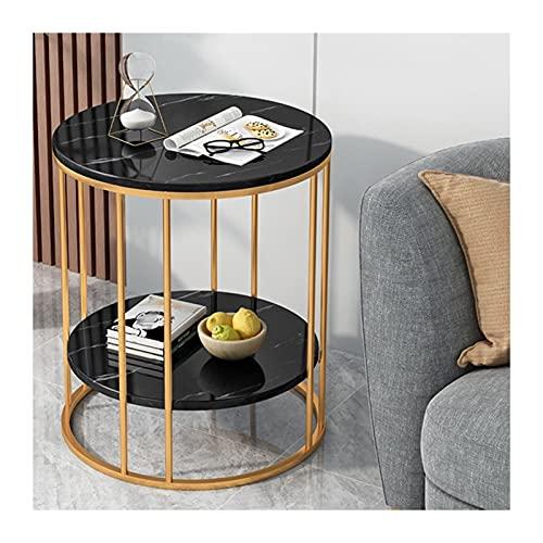 XIANGE100-SHOP Mesa Auxiliar Tabla de sofá Mesas Laterales Redondas pequeñas, Mesa de café pequeña de la Cama Moderna para la Sala de Estar Dormitorio pequeño Espacio Decorativa (Color : Black)