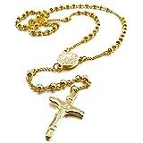 Vaorwne Acero Inoxidable Colgante Collar Oro Jesus Cristo Crucifijo Cruzar Cruz Rosario Retro 23 Pulgada Cadena Hombre,Mujer