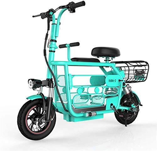 Bicicletas Eléctricas, Scooter eléctrico 12' Urban plegable de cercanías E-bici Velocidad máxima 36 kmh 15Ah 400w / 48v de carga de la batería de litio frontal y posterior absorción de choque súper li