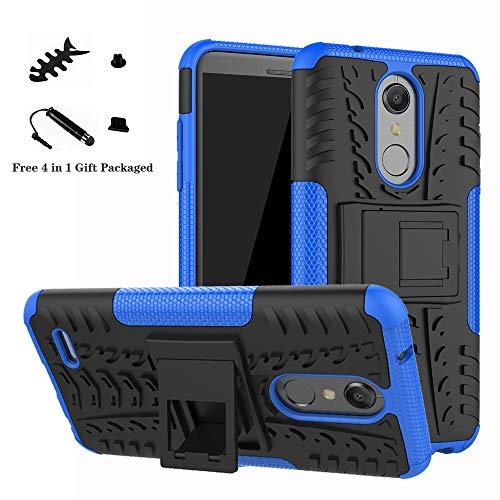 LiuShan LG K10 2018 Funda, Heavy Duty Silicona Híbrida Rugged Armor Soporte Cáscara de Cubierta Protectora de Doble Capa Caso para LG K10 2018 Smartphone(con 4 en 1 Regalo empaquetado),Azul