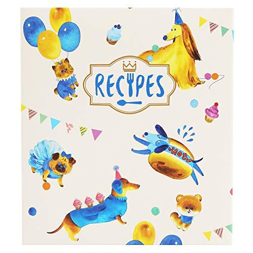 COFICE Recipe Binder – 8x9 Recipe Binder, 4x6 Recipe Cards and Tabbed Dividers, Dog Design (Dog)