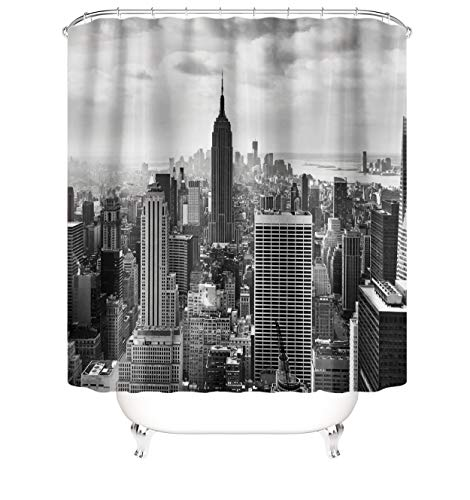 Black and White New York City Shower Curtains Empire State Building NYC Skyline Picture Waterproof Polyester Fabric Bathroom Curtains Decor Set with Hooks 72x72 Inches