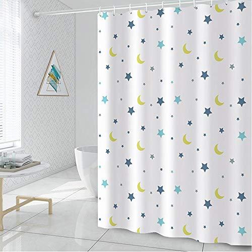 Lfives-hm Duschvorhänge Antischimmel Badezimmer-Vorhang Simple Star Mond Printed schimmelbeständig Polyester-Gewebe dekorative Duschvorhang Liner für Badezimmer Badewanne (Farbe : 150x180cm)