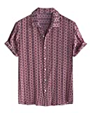 Camisas para Hombres, Camisa Informal de algodón de Estilo Nacional para Hombres, Manga Corta, Transpirable, sin decoloración, sin Encogimiento, para Hombres, Camisetas Elegantes para la Playa