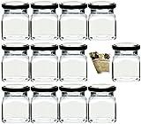 Flaschendiscount 40 leere eckige Einmachgläser 'Quadrat' 120 ml incl. Drehverschluss Silber, Vorratsgläser, Marmeladengläser, Einkochgläser, Gewürzgläser, Einweckgläser
