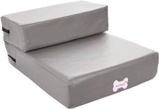 [Jiyaru]ドッグステップ ペット用階段 踏み台 防水 ケガ防止 取り外し可能なカバー付き (グレー)