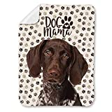 NIWAHO German Shorthaired Pointer Dog and Paws Printed Super Soft Sherpa Blanket - Double-Deck Thickening Lambs Wool, Dog MOM Gift (31'x47')