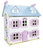 Leomark Bella Alpina Casa delle bambole in legno, mobili di famiglia e bambole piani in legno, accessori bambole incluse, bianca casetta plus illuminazione a LED, dimensioni: 55 x 35 x 60 cm (LxPxA)