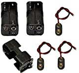 LAMPVPATH 3 Pcs 4 x 1.5V (6V) AA Battery Holder Leads with 3 Pcs 9V I Type Snap Connector Plastic Housing Two Layers Battery Case
