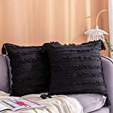 Longhui bedding Decorative Cotton Linen Black Throw Pillow Covers with Tassels Fringe - 20x20 Inches Cushion Covers with Invisible Zipper for Couch, Sofa and Bedroom, Set of 2