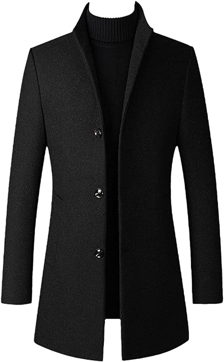 Autumn And Winter Men's Casual Long Wool Blended Windbreaker Solid Color Thick Business Jacket Black M