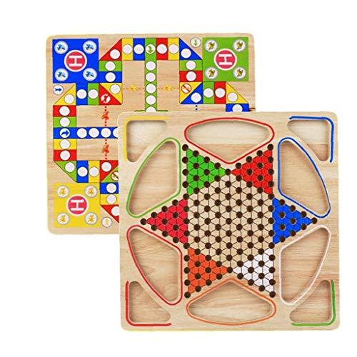 2 En 1 Checkers Gobang De Madera Juego De Mesa para La Familia para Adultos De Los Niños del Niño hasta Seis Jugadores