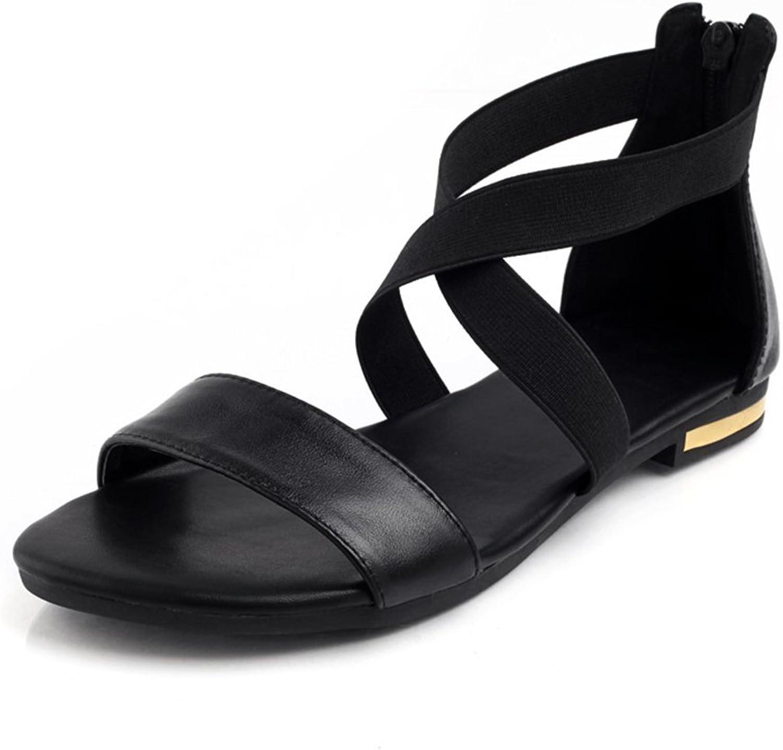 Women Sandals Genuine Leather Summer Zip Flats Ladies shoes Cover Heel Sandals