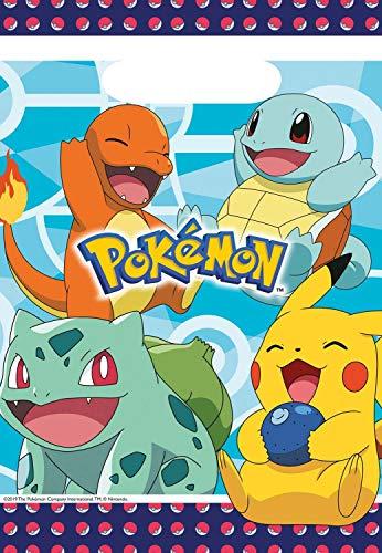 Amscan 9904824 - Partytüten Pokemon, 8 Stück, 16 x 23 cm, Mitgebsel, Kindergeburtstag