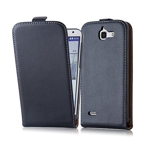 Cadorabo Hülle für Huawei Ascend G730 in KAVIAR SCHWARZ - Handyhülle im Flip Design aus glattem Kunstleder - Hülle Cover Schutzhülle Etui Tasche Book Klapp Style