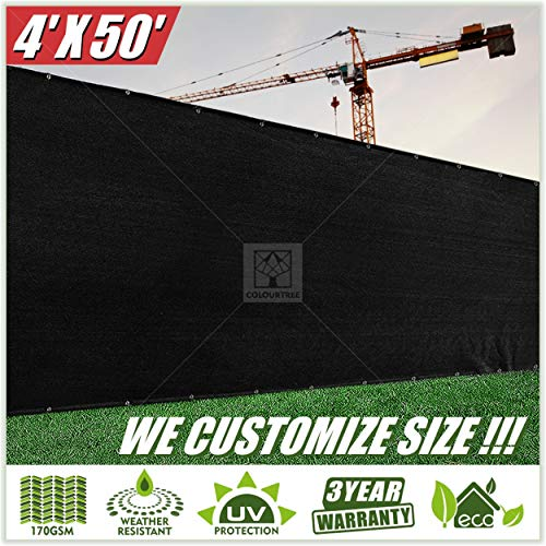 ColourTree 2nd Generation 4' x 50' Black Fence Privacy Screen Windscreen Cover Fabric Shade Tarp Netting Mesh Cloth - Commercial Grade 170 GSM - Heavy Duty - 3 Years Warranty - CUSTOM SIZE AVAILABLE