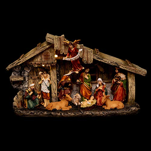 Fééric Lights and Christmas - Presepe di Natale con 11 statuette luminose
