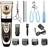Ceenwes Dog Clippers Low Noise Pet Clippers Rechargeable Dog Trimmer Cordless Pet Grooming Tool Professional Dog Hair Trimmer with Comb Guides Scissors Nail Kits for Dogs Cats & Other(Gold)
