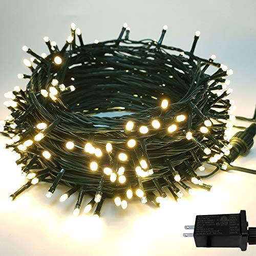 Moon Strike Christmas String Lights, 200LED 82Ft Indoor/ Outdoor Lights Extendable Christmas Tree Lights Waterproof 8 Modes for Wedding, Party, Patio, Christmas Tree, Bedroom Decor (Warm White)