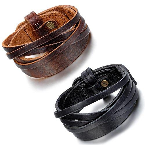 Cupimatch 2 pulseras de cuero para hombre y mujer, color marrón y negro