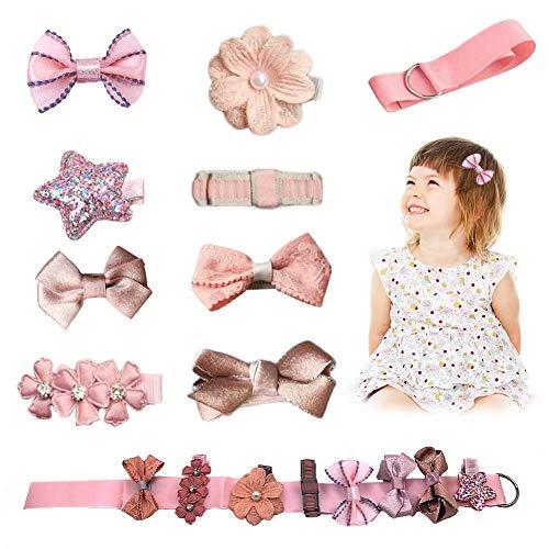 Barrettes rose pâle, 8 barrettes de différents tailles et 1 ruban d'un ensemble, pour les petites filles