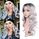 Miman Long Ombre Grey Wigs Dark Roots Wavy Curly None Lace Replacement Synthetic Full Curly Cosplay Party Wigs for Woman (Gray)