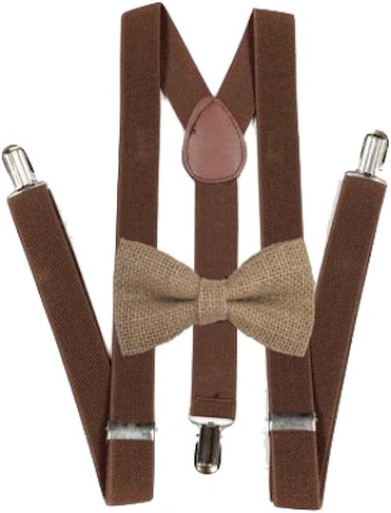 Hemp Bow ties and brown suspenders Set Combo Mens