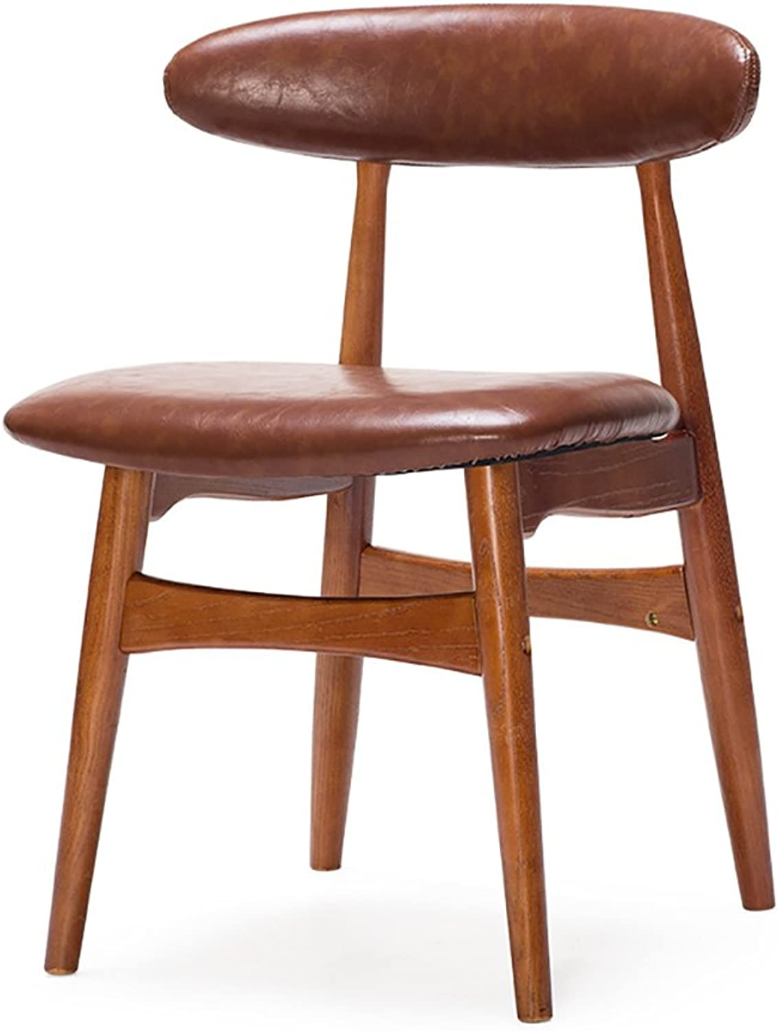 ZJM- Dining Chair Solid Wood Backrest Chair Office Chair Cafe Seating Chair Nordic Retro Light Brown PU Leather Chair Beige (color   Light Brown-A, Size   Set of 1)