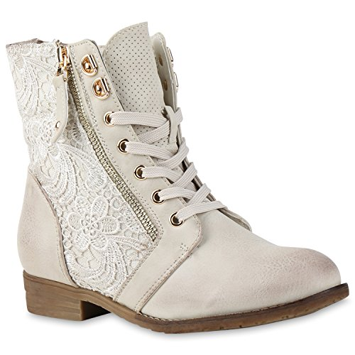 Damen Biker Boots Schnallen Stiefeletten Blockabsatz Prints BootiesRockige Damen Schuhe 135362 Creme Spitze 41 Flandell