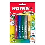 Kores- Pegamento con purpurina, 10,5ml, 5unidades