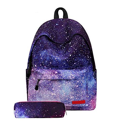 Hzjundasi Schulrucksack für Jungs Mädchen,Unisex Schul Galaxy Schultaschen Segeltuch Schulrucksäcke Daypack mit Mäppchen Tasche