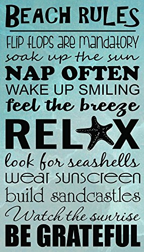 FRAMED CANVAS PRINT Beach Rules flip flops are mandatory soak up the sun nap often wake up smiling feel the breeze relax look for seashells wear sunscreen build sandcastles watch the sunrise be grateful. Wall Decor Quotes Sayings Inspirational wall Art