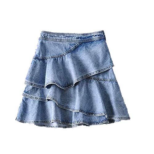 NOBRAND - Gonna in jeans a tre strati, a vita alta Blu S