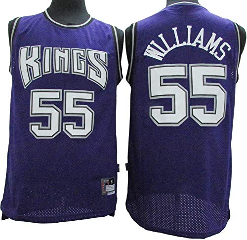 Uniformes De Baloncesto para Hombre, Sacramento Kings # 55 Jason Williams Camiseta Transpirable De Malla De La NBA Chalecos De Baloncesto Retro Tops Casuales,Azul,L(175~180CM)