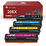 Toner Kingdom Compatible Toner Cartridge Replacement for HP 206X 206A W2110X W2110A for Color Laserjet Pro M255dw MFP M283fdw M283cdw M283 M255 No Chip (Black Cyan Yellow Magenta, 4-Pack)