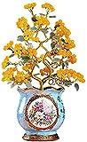 Inicio Accesorios Citrino Reiki Árbol del dinero Cristales curativos azules Cobre Cornucopia Adornos de Feng Shui Estatua de la suerte Estatua de 20.8 pulgadas Accesorios decorativos Esculturas Adorno