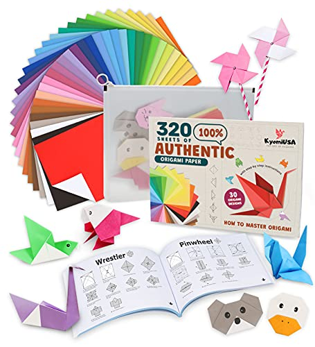 320 Sheets of 100% Pure Wood Pulp Traditional Origami Paper, 32 Vibrant Colors, 10 Sheets Each Single Sided Color, 5.9? X 5.9? KAMI Paper, Visual Instruction Book of Designs, Storage Bag by KyomiUSA