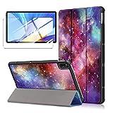LJSM Funda + Protector Pantalla para Samsung Galaxy Tab S7 2020 11' T870 / T875 - Vidrio Templado, Carcasa Silicona Tablet Cover con Soporte Función Caso PU Flip Case - Milky Way