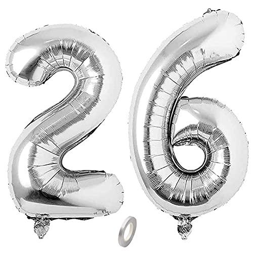 Jrzyhi Globos con números para 26 cumpleaños, plateados, con número 26, helio, número 26, número XXL, número 26, globos gigantes para cumpleaños, bodas, fiestas, decoración, 32 pulgadas
