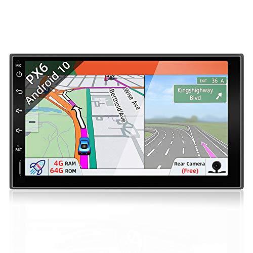 JOYX PX6 Android 10 Doppel Din Autoradio Mit GPS Navi - 4G RAM +64G ROM - Rückfahrkamera KOSTENLOS - 7 Zoll - Unterstützen DAB+ HDMI 4K-Video Lenkradsteuerung 4G WiFi Bluetooth-4.0 Mirrorlink Carplay