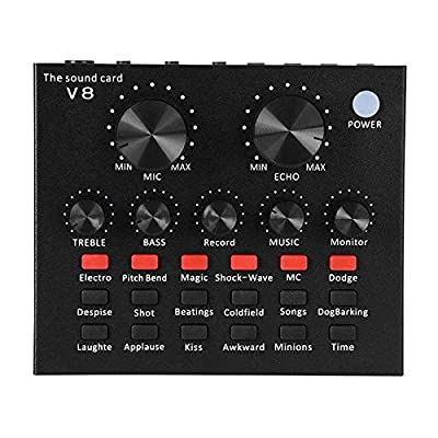 YDong Sound Mixer Board Live Broadcast DJ Sound Mixer Sound Card for Computer Phones Singing Recording