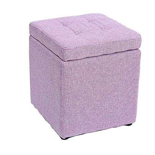 Leileixiao Storage Stool Cotton And Linen Solid Wood Home Bedroom Kitchen Living Room Multi-function Stool (Color : C)
