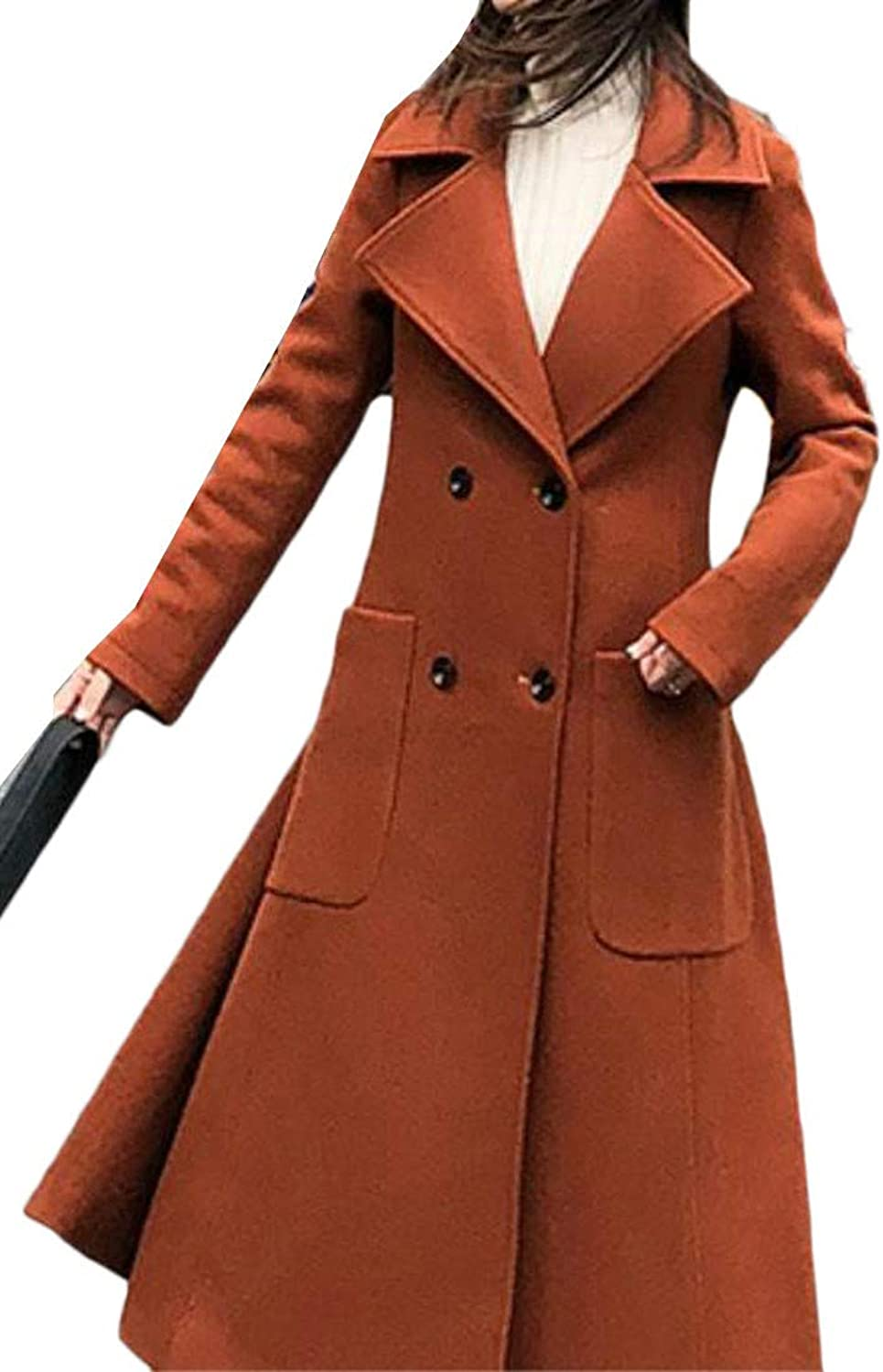 Cromoncent Women's Thicken Lapel Double Breasted Woolen Long Jacket Outwear Trench Coat