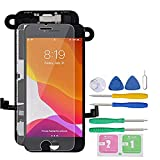 Screen Replacement for iPhone 7 Full Assembly LCD Display Touch Digitizer with【Front Camera】【Proximity Sensor】【Earpiece Speaker】 Screen Protector, Repair Tools (Black)