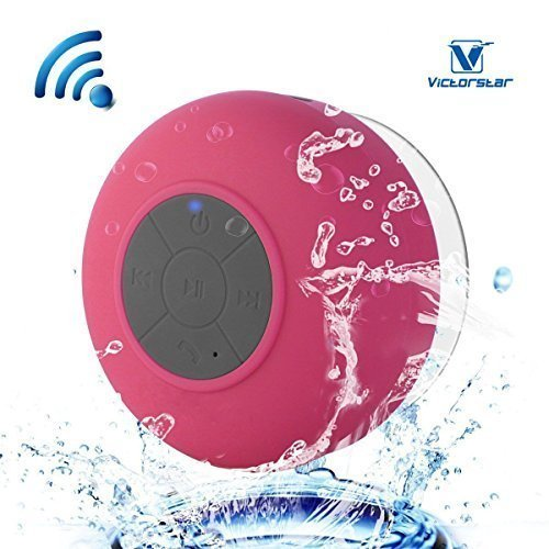Resistente al agua Bluetooth 3.0 Ducha Altavoz, Altavoz Portátil de Manos Libres con Mic Incorporado, 6h de Tiempo de Juego, Botones de Control y Ventosa Dedicado para Duchas,Cuarto de baño,Piscina,Barco,Coche, Playa,al aire libre Usar (Red)