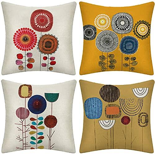 18 X 18 Pulgadas Paquete De 4 Cubiertas De Almohadas De Lanzamiento, Cuadrado Abstracto Dibujado A Mano Almohadas Conjuntos De Cojines Fundas De Almohada, Decorativo Suave Para Sofá Cama Sofá Cama Sil