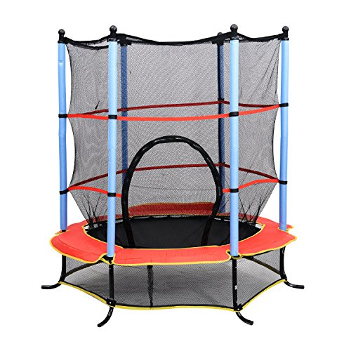 HOMCOM 55 Inch 4.5FT Junior Kids Trampoline with Safety Net Enclosure &...