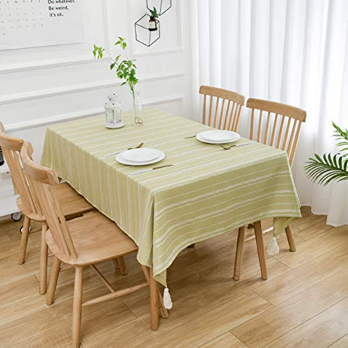 HTUO Washable Cotton Tablecloth Christmas Decoration Wipe Clean Tablecloth Water Resistant Table Cover Rectangular Waterproof Oil Proof Kitchen Dinning Party Various Sizes 135 * 100cm